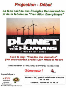 "Projection - débat  ""Planet of The Humans"", documentaire de Jeff Gibbs produit par Michael Moore @ Centre de Vacances de Biabaux"