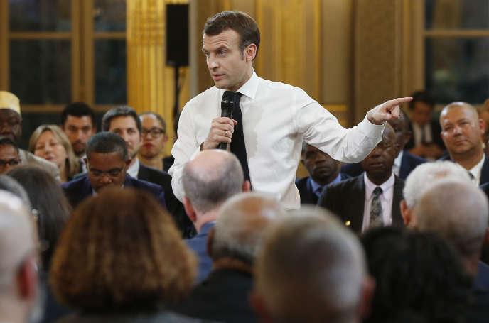 Emmanuel Macron lors du débat avec des élus ultramarins, le 1er février.